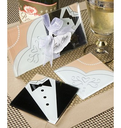TUXEDO & GOWN GLASS COASTER - as low as RM2.80/pair