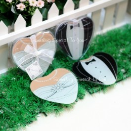 HEART SHAPED TUXEDO & GOWN GLASS COASTER - as low as RM3.40/pair
