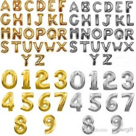 Alphabet & Number Foil Balloon (Shipped Flat)