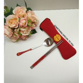 RED CHOPSTICKS & SPOON IN XI BAG FAVOR - as low as RM3.80/set
