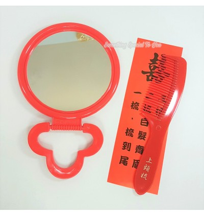 Big Round Table Mirror with Red Comb