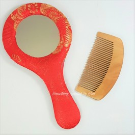 Brocade Mirror with Wooden Comb