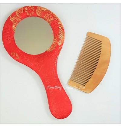 Brocade Mirror with Wooden Comb