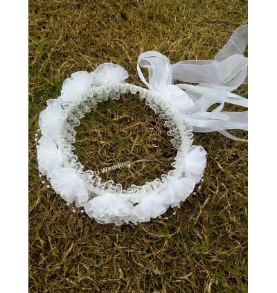 Girl Flower Lace Wedding Bride Garland Hair Headband Veil Decor