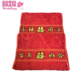 !!Ready Stock!! Wedding Face Towel (2pcs), Red Towel Room Decor Dowry 双喜面巾