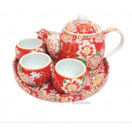 Red Floral Teaset