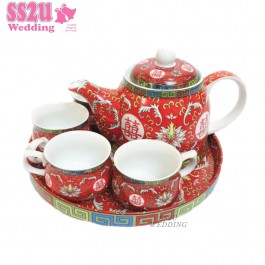 Waterlily Teaset Red