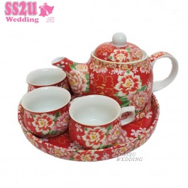 Red Floral Teaset (Ring)