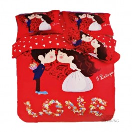 K Love Bedsheet Red